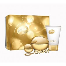 DKNY Golden Night Out 4 Piece Gift Set - Perfume 3.4oz and .24oz Body Lotion 3.4oz, and 1 Keychain
